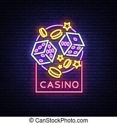 projects., logo, emblème, bannière, lumière, signe., casino, néon, illustration, clair, vecteur, conception, publicité, jeux & paris, nuit, ton, element., panneau affichage