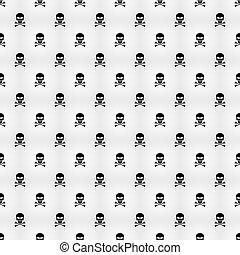 projects., pericolo, modello, astratto, skulls., illustrazione, fondo., vettore, sfondo nero, threat., bianco, tuo, carte parati