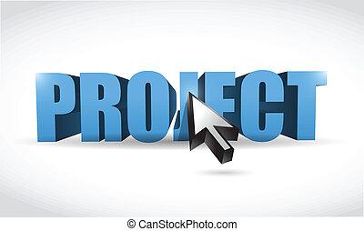 projekt, 3d, wort, und, cursor., abbildung, design