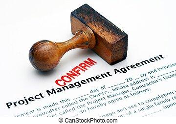 projekt, -, abkommen, bekräftigen