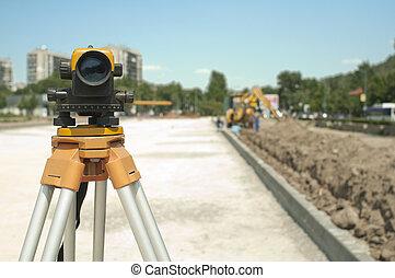 projekt, ausrüstung, baugewerbe, infrastruktur, geodäsie