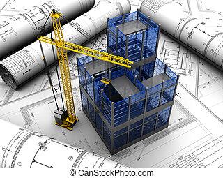 projekt, av, byggnad