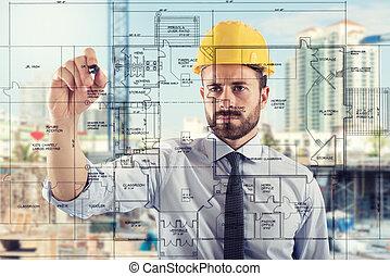 projekt, av, interiörer, av, bygga