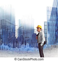 projekt, av, konstruktion