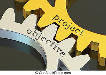 projekt, cel, pojęcie, na, przedimek określony przed rzeczownikami, gearwheels, 3d, przedstawienie