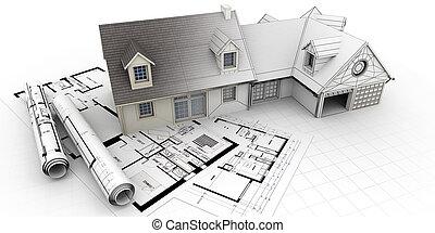 projekt, dom, architektura, ukończenie