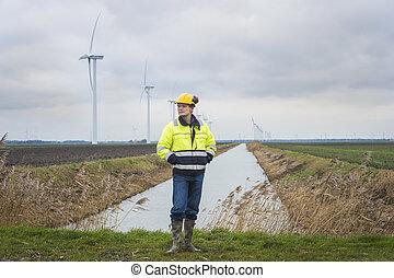 projekt, exploatör, in, a, grönt landskap, med, vindmotorer
