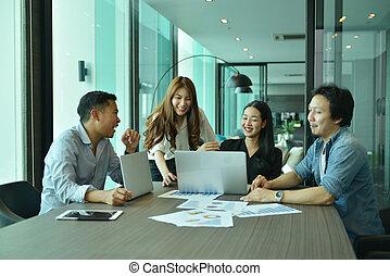 projekt, handlowy, powieść się, ludzie, skuwka, teamwork, asian, drużyna