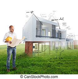 projekt, hus, arkitekt