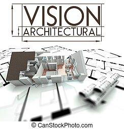 projekt, hus, blåkopior, vision, arkitektonisk