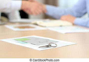 projekt, hus, handshake., real-estate, underteckna, nyckel, contract., medel, behind., lägenhet