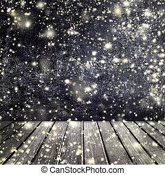 projekt, lag, däck, röja, använda, Struktur, Snö, Produkt, ved, svart, bakgrund, bord, stjärnfall, din, tom, Mall