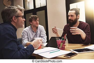 projekt, mówiąc, o, mężczyźni, handlowy