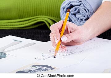 projekt, mode, skizzieren, entwerfer- kleidung