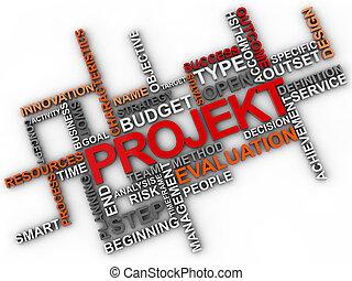 projekt, ord, moln, över, vit fond