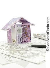 projekt, pieniądze, robiony, architektoniczny, dom