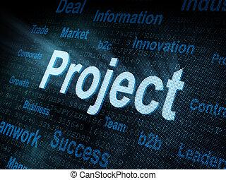 projekt, pixeled, schirm, wort, digital