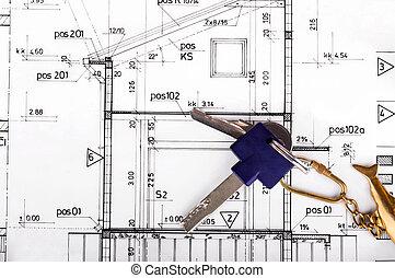 projekt, plan, architekt, rysunek