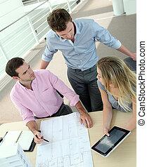 projekt, zbudowanie, spotkanie, handlowy zaludniają