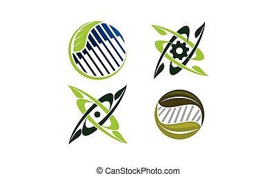 projekt, zielony, komplet, technologia, szablon