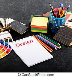 projektant, biuro., twórczy, miejsce pracy, nie, profesjonalny, otwarty