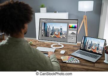 projektant, edycja, komputer, fotografia