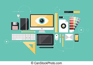 projektant, graficzny, miejsce pracy, ilustracja, płaski