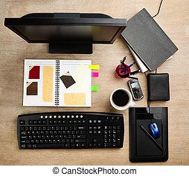projektant, pracujący, biurko