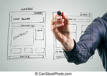projektant, rysunek, website, rozwój, wireframe