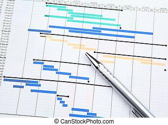 projektmanagement, mit, gantt, tabelle