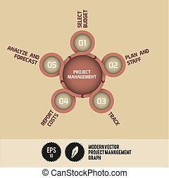 projektmanagement, vektor, modern, schaubild