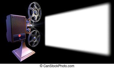 projektor, film, visar, på, avskärma