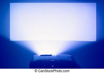 projektor, handlung, mit, erleuchtet, warm, blauer schirm