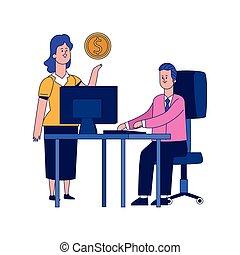 projektować, barwny, kobieta, biurowa kasetka, rysunek, biznesmen, pracujący