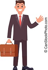 projektować, biznesmen, wektor, briefcase., litera, płaski