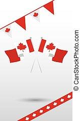 projektować, chorągiew, kanada, bandery, proporzec, dzień, wektor, kanadyjczyk, szczęśliwy