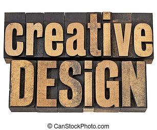 projektować, drewno, typ, twórczy