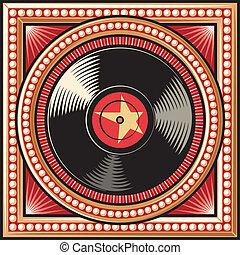 projektować, dysk, (record), winyl, retro
