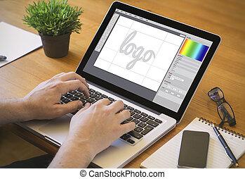 projektować, graficzny, komputer, desktop