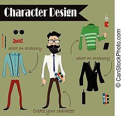 projektować, hipster, litera