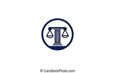 projektować, logo, skalpy, prawo, koło, sprawiedliwość, słup