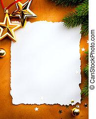 projektować, niejaki, boże narodzenie, powitanie karta, z, biały, papier, na, niejaki, czerwone tło
