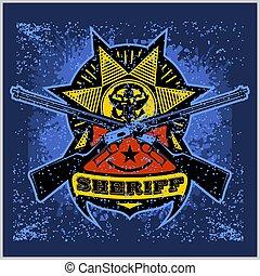 projektować, odznaka, szeryf, winchesters, gwiazda, krzyżowany, wstążka
