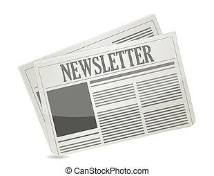 projektować, papier, newsletter, ilustracja