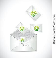 projektować, pełny, koperta, emails, ilustracja