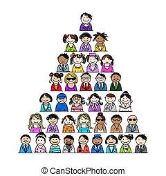 projektować, piramida, ludzie, twój, ikony