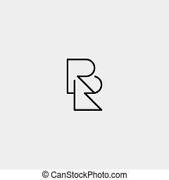 projektować, prosty, r, logo, rr, litera, wektor