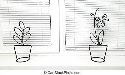 projektować, rośliny, naprawa, plastyk, poziomy, windows., repair., okno, biały, lokal, zaciemnia, interior., domowy, pojęcie, nowy