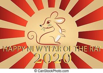 projektować, rok, ikona, wektor, stylizowany, 2020, symbol, szczur