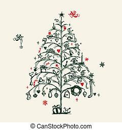 projektować, rys, drzewo, twój, boże narodzenie